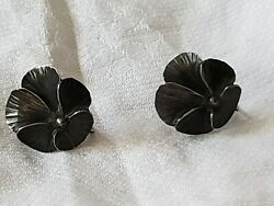 Vintage Earrings Sterling Silver Flowers Pansy Handmade Collectable Fun Fashion