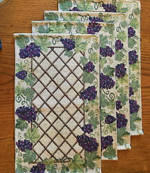 Tapestry Grape Vine Wine Pattern Placements Place Mat Set of 4 Beige Used