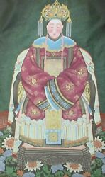 Chinese Emperess Original Watercolor On Silk Painting Unsigned