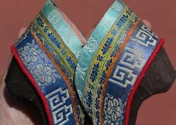 Old Chinese Brocade Silk Embroidery Textile Bound Feet Lotus Shoes