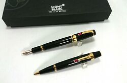 Mont Blanc Boheme Rouge Set Of Foutnain Pen And Ball Point W/case, Germany Cm31