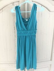 Grecian Wrap Belted Teal Turquoise Dress Wedding Beach Small Summer Tropical $9.95