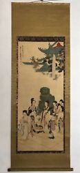 Vintage Antique Ancient Art Chinese Painting Xu Manipulation Figure Painting