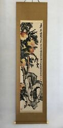 Vintage Antique Ancient Art Chinese Painting Wu Changshuo Longevity And Peaches