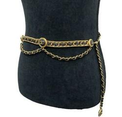 Chain Belt Vintage Gold Plated Metal And Black Leather Cc Logo Motifs W/box