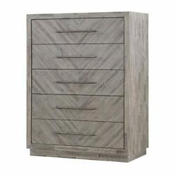 5 Drawer Chest With Herringbone Pattern And Bar Handles Brown