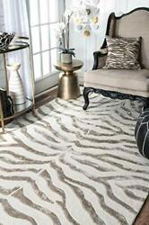 Zebra Hand Tufted Plush Wool Area Rug 8and039 6 X 11and039 6 Grey