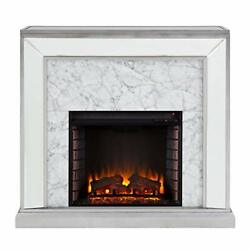 Trandling Mirrored And Faux Electric Fireplace Antique Silver/white Marble