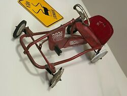 1960and039s Vintage Original Red Super Tot Rod Metal Pedal Car Chain Drive Kids Toy