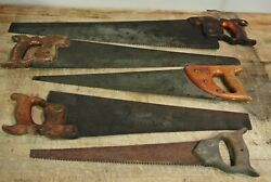 Lot Of 5 Vintage Antique Hand Saws Free Us Shipping