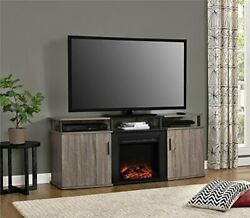Carson Electric Fireplace For Tvs Up To 70, Distressed Gray Oak Tv Console
