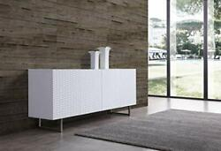 Line Contemporary Modern Wally Buffet With 5mm Pure Tempered Glass Top, White