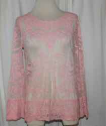 Womenand039s Breeze Ever Pink Sheer Floral Crochet Top Size M