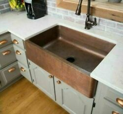 Farmhouse Sink Apron Hammered Solid Copper 33 In Handcrafted Single Bowl Kitchen