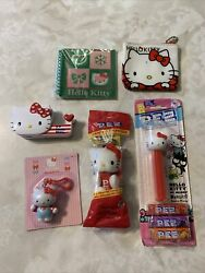 Mix Lot Pez Hello Kitty Plush Candy Dispenser Lot Tape Backpack Clip Coin Bag