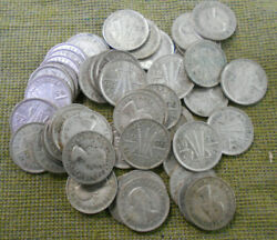 C36. Fifty50 1956 Australian 50 Silver Threepence Coins