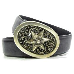 Chrome Hearts Classic Oval Star Buckle Men's Belt Silver 925 Black Leather