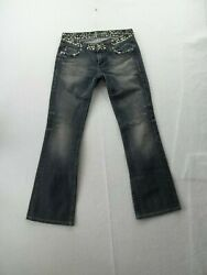 Miss Me Riveted Boot Womens Blue Jeans, Size 27 Inseam 31 Embellished, Euc