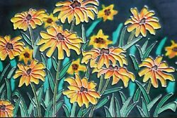 Black Eye Susan Hand Painted Ceramic Art Tile 8 X 12 Inches With Back