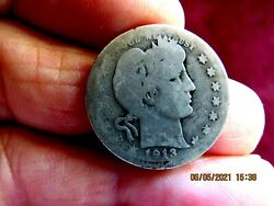 Key Date 1913-s Barber Quarter Dollar Silver Us Coin
