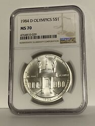 1984 D Olympics Ngc Ms70 Silver Commemorative Dollar 1 Coin Ms 70