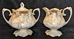 Vintage Hand Decorated Footed Creamer And Sugar Bowl White With Gold Maple Leaf