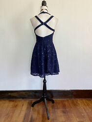 Juniorandrsquos 7/8 Morgan And Co Navy Blue Strappy Lace Sequin Cocktail Dress