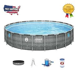New Coleman 22'x52 Power Steel Swimming Pool Set W/ Pump, Ladder And Cover