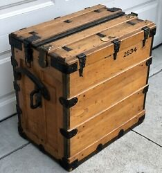 Antique Early 1900 Ncr National Cash Register Wood Salesman Crate Trunk And Key