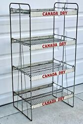 Antique Canada Dry Ginger Ale Soda Display Rack W/ 4 Shelves And 8 Metal Signs Old