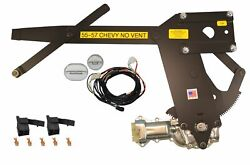 1955-1957 Chevy Nomad Front No Vent Power Window Kit With Ftfg Switches For Door