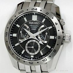 Seiko Mechanical Gmt Sarn001 Automatic Black Dial Stainless 4s36-00a0 Menandrsquos