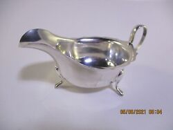 E. V 1881 Sheffield England British Sterling Silver Footed Sauce Boat