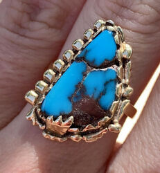 Vintage Native American 14k Solid Yellow Gold Turquoise Signed Cbm Navajo