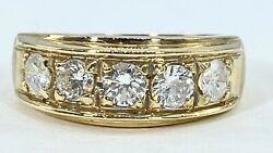 1.00 Ct 5 X Diamond Mens 8 Mm Band Ring Solid 14 K Yellow Gold See Video