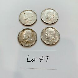 Lot Of 4 Kennedy Half Dollars 40 Silver -all Circulated- Mixed Years