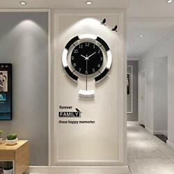 Large Clock Wall Decor Wood Modern Wall Clocks Art for Living Room S 17in