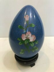 Vintage Chinese Large Blue Cloisonne Enamel Floral Egg W/wood Stand, 7 3/4 Tall