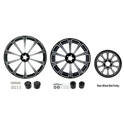 21 Front 18'' Rear Wheel Rims Dual Disc Hub Belt Pulley Fit For Harley Touring