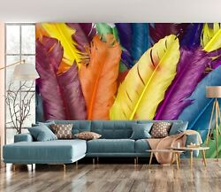 3d Colored Feather Ke1971 Wallpaper Mural Self-adhesive Removable Sticker Bea