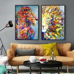 Colorful Lion Modern Home Decor Pictures Wall Art Canvas Painting Posters Deco