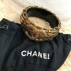 Bangle Braided Gold Black Metal Coco Mark Engraved W/storage Bags Auth