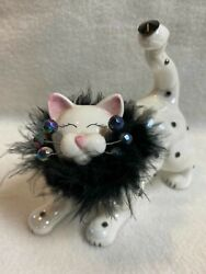 WhimsiClay #x27;Cha Cha#x27; Cat Figurine White with Black Spots and Fur Collar