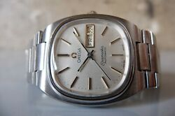 1970and039s Vintage Omega Seamaster Tv Screen Cal.1020 Ss 35mm Day/date Automatic
