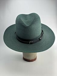 Stratton Self Forming Green Straw Campaign Hat Trap Ranger Military Police 7 1/8