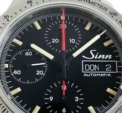 Sinn 303.autobahn Automatic Day Date Chronograph Watch Ss Black W/ Box And Papers