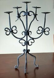 Vintage Wrought Iron Candelabra 5 Arm Candle Holder 18 High