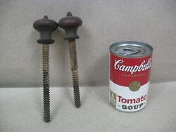 Antique Set 2 Wood Turned Finials Threaded Toppers Furniture Bed Clock Post L3