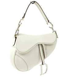 Christian Dior Saddle Hand Bag White Leather Italy Vintage Authentic Ak31438b