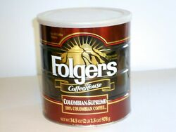 Folgers Coffee 34.5 Oz Can Colombian Supreme Never Opened ☕️